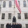 Indonesian delegation with Tara Benedict of the Marshal's Office at the John Harvard statue