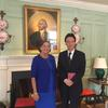 Jackie O'Neill with Consul General Michii in the Wadsworth House parlor