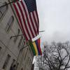 The flag of Mauritius flies alongside the US flag at University Hall in honor of the President's visit