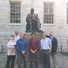 The fall 2017 Shorenstein Fellows at the John Harvard statue