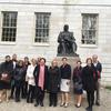 The University of Sydney delegation at the John Harvard statue