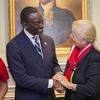 Dr. Yusef Salaam and Margot Gill in the Wadsworth House parlor