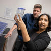 Mansi Srivastava and Andrew Gehrke with specimens in the laboratory. Courtesy of Kris Snibbe/Harvard Staff Photographer